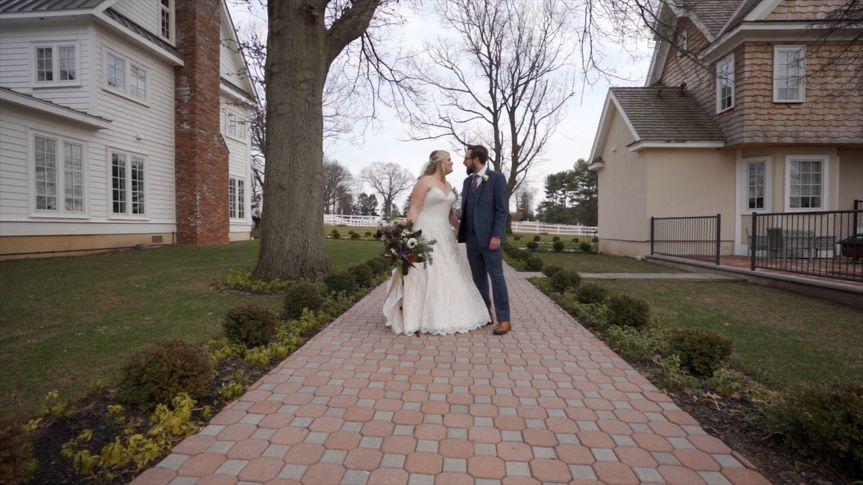 Wedding couple posing outside