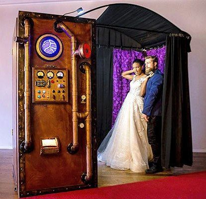 Our vintage (Victorian era) steampunk time machine is one of our favorite photo booths.