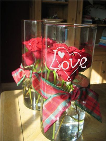 """Personalized wedding centerpieces glass cylinder vase  Custom etched glass cylinder vase 10"""" tall,..."""