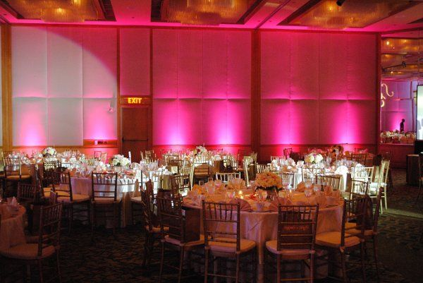 Reception hall with pink lighting