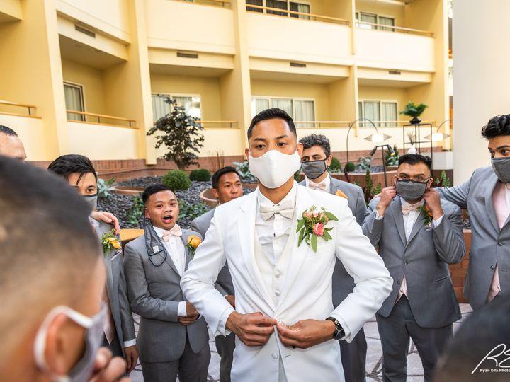 Tmx Picture Groom With Groomsmen Wearing Masks 51 475765 159897150894328 Princeton, NJ wedding venue