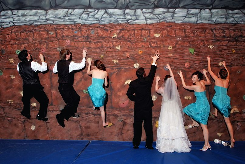 Rock climbing wedding fun