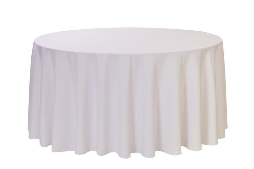 120 inch White Polyester Round Tablecloths