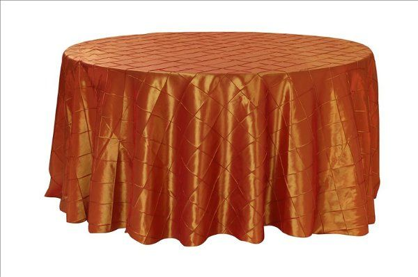 Tmx 1323307008296 BurntOrangePintuckRoundTablecloth Sun Valley wedding rental
