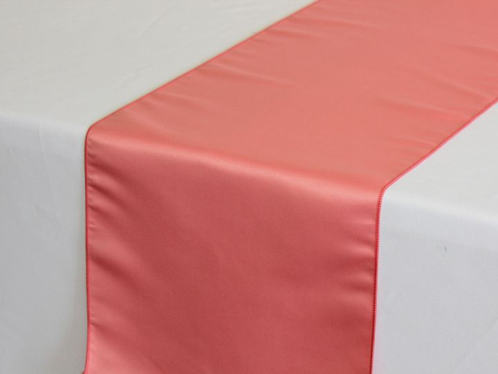 Tmx 1405019014293 Coral Satin Lamour Table Runner Sun Valley wedding rental