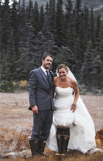 Showing off X-Tra Tuff Boots, worn during this Alaskan Wedding.