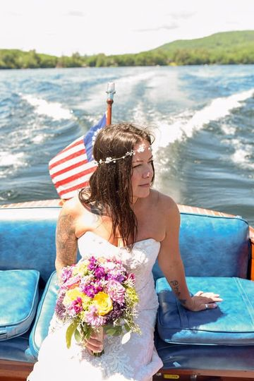 A beautiful bride on the boat