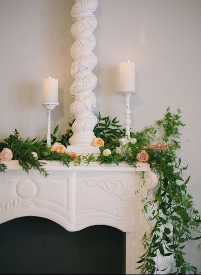 Fireplace mantel flowers
