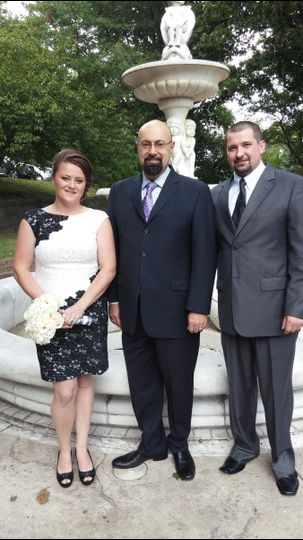 Posing with the officiant