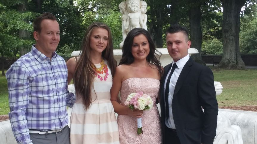 The newlyweds with some guests