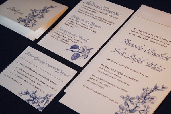 Traditional Invitation with hand drawn apple blossom flower