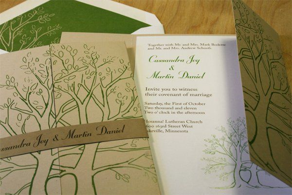 Eco invitation with hand drawn green love trees printed on recycled paper