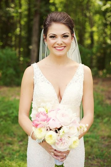Bride in a sleeveless gown