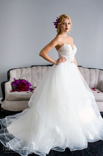 Classic ruffled wedding gown