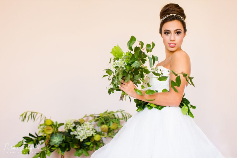 Bride and plants