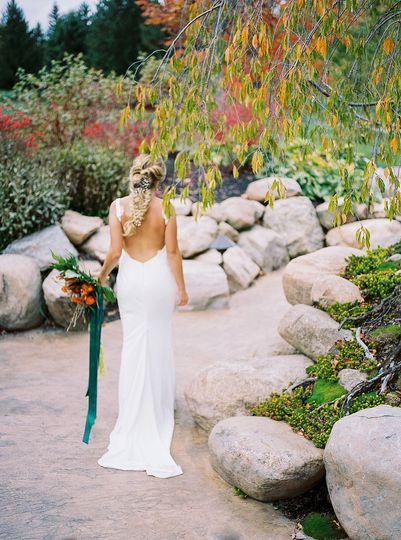 Sleek, backless wedding dress
