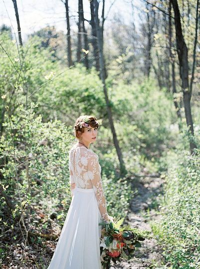 Sleeved, lace wedding dress