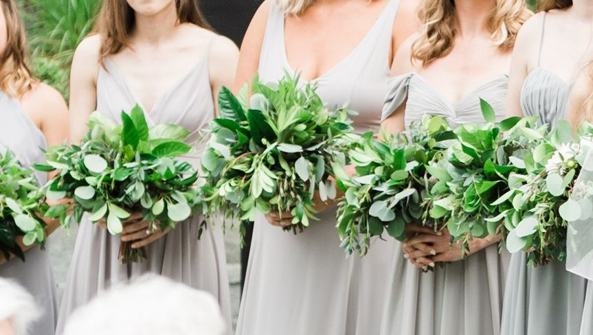 Greenery bridesmaids bouquets