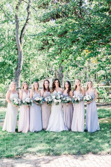 Bridal party in the courtyard