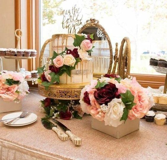 Romantic wedding cake display
