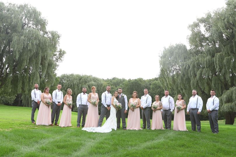 Wedding party on golf course