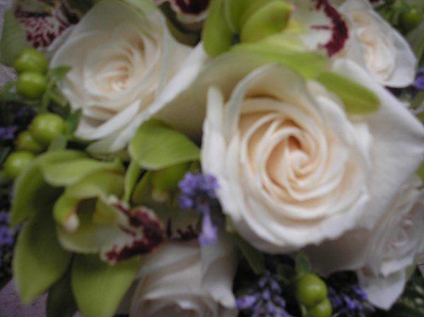 Brides Bouquet,Green Cymbidiums Vandella Roses