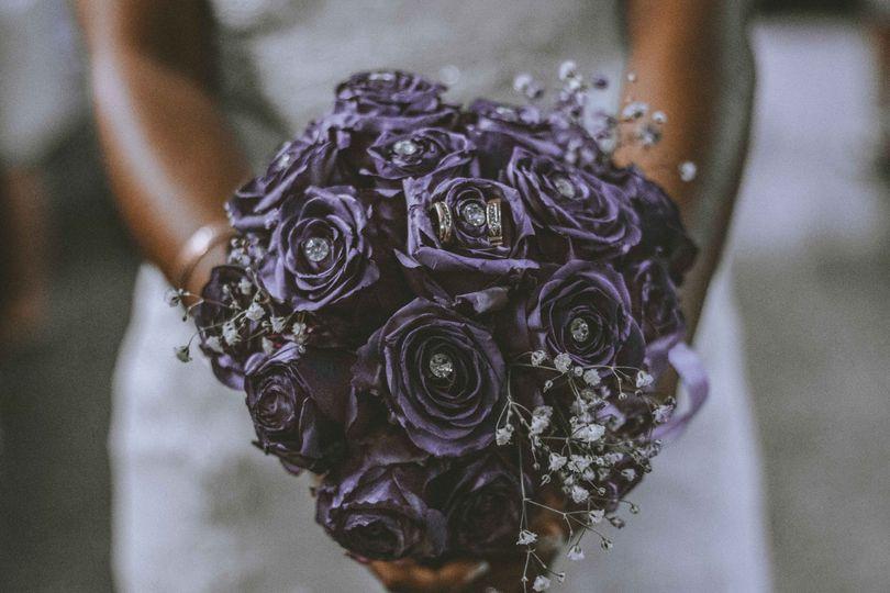 Detail shot of floral bouquet