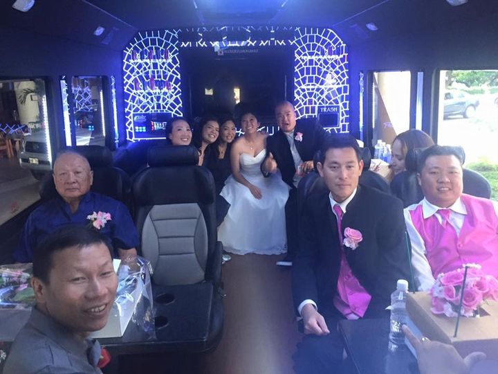 Matching lightshow to go with the groom's vest!  Let Luxury Limo Hawaii drive you in comfort and...