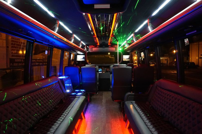 View from the back of the brand new 2015 25-passenger limobus taken in May 2015.  Luxury Limo Hawaii...