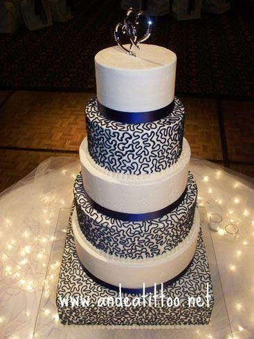 """Navy Ribbon & Cornelli Lace, This cake was delivered last night, 16"""" bottom tier was almond, 14""""..."""
