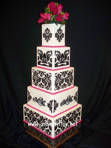 "My Daughter's Wedding Cake, The main attraction was 4', 6"", 8"", 10"" & 12 inch squares. The 6 & 8""..."