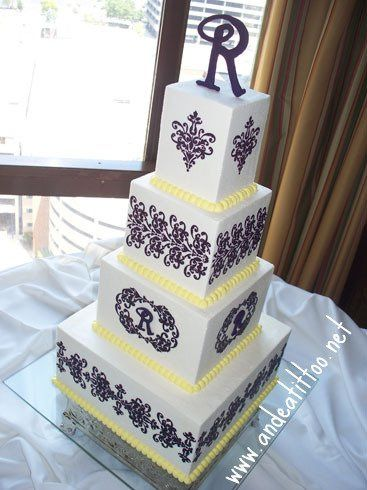 """Plum Lace, 12"""", 8"""" 6"""" & 4"""", almond cake for 12 & 6"""", raspberry in the 12 & lemon in the 6. Chocolate..."""