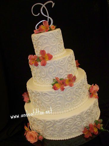 """Scrollworks"", 6"", 10"", 14"" & 18"", half chocolate rush cake with cherry filling, other half apricot..."
