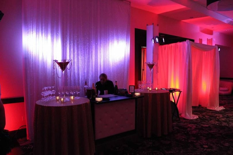 Drape entrance and bar