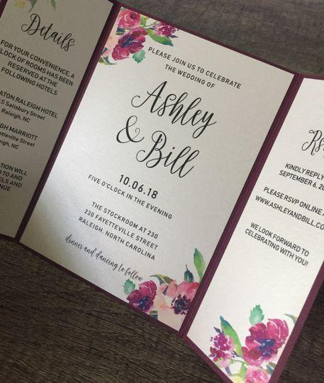 Burgundy floral invite