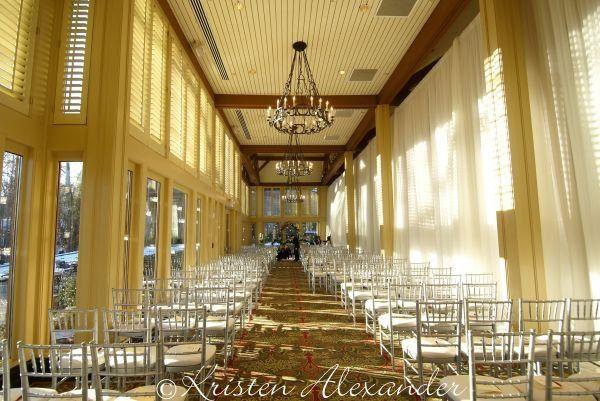 Indoor wedding ceremony setting