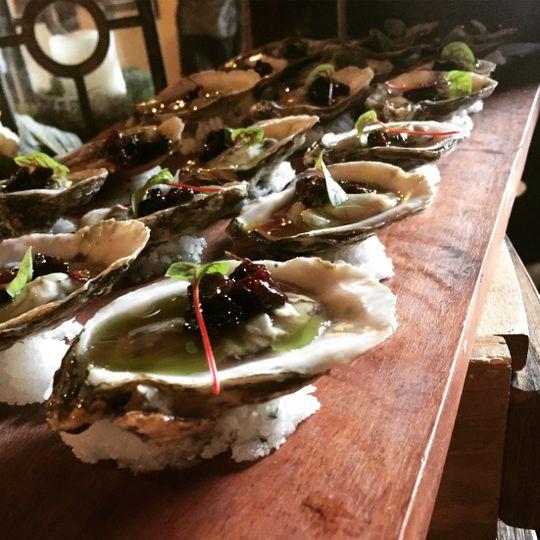 Oysters, tarragon, cherry