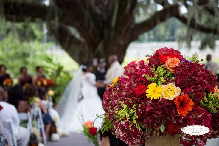 Floral arrangement at the ceremony