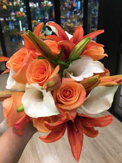 Orange and white hand tied bqt