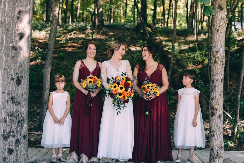 The wedding party and flower people