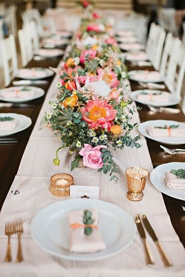 Centerpieces and table settings