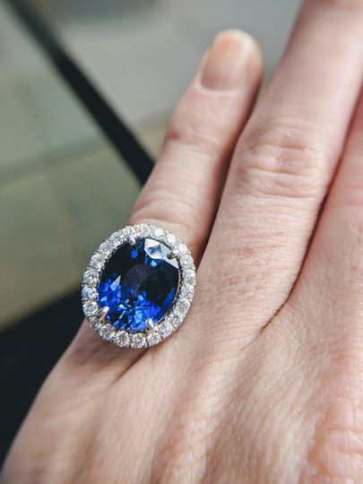 natural blue sapphire and diamond engagement ring custom designed and handmade by Secrète Fine...