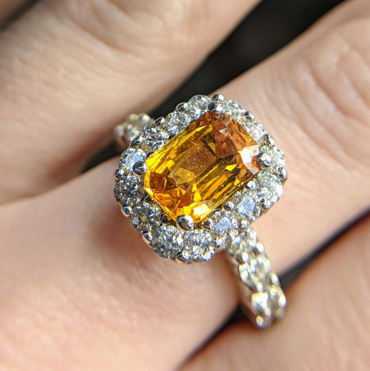 honey yellow sapphire and diamond engagement ring by Secrète Fine Jewelry in Bethesda, MD and...
