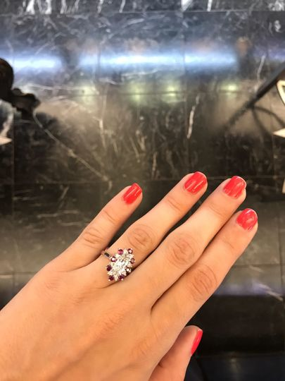Diamond and ruby engagement ring by  Secrète Fine Jewelry in Bethesda, MD and Washington, DC