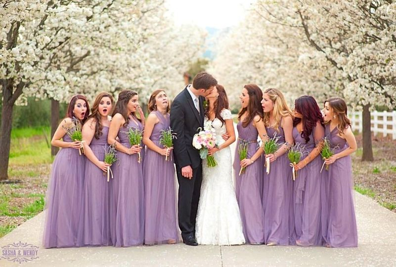 Couple along with bridesmaids