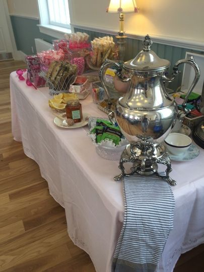 Tea service and candy buffet