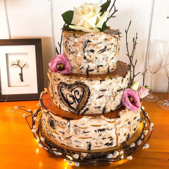 Birch Cake with initials