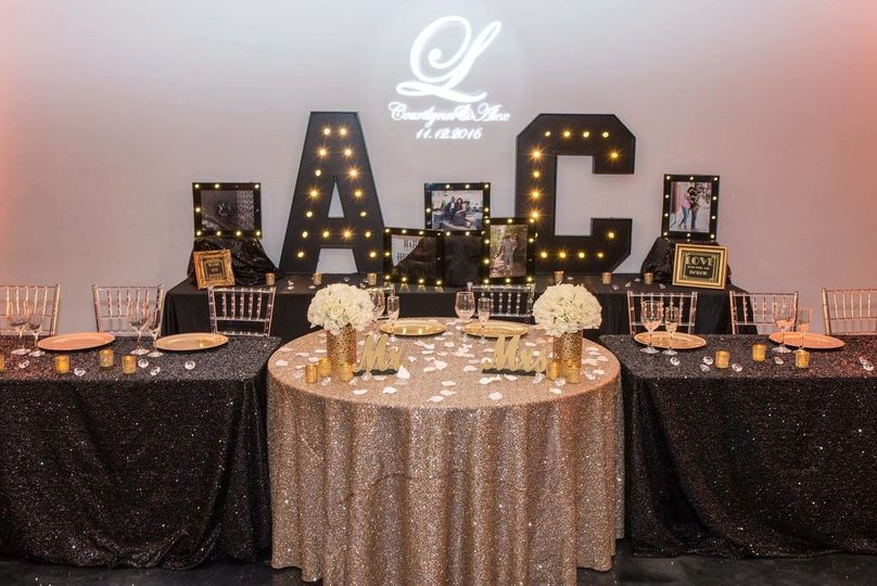 Black and gold themed table