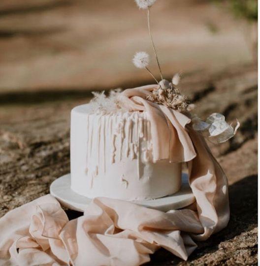 Blush pink desert wedding cake