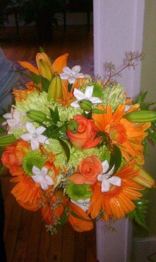 Orange flowers with leafy design